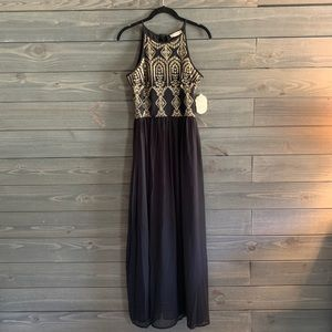 Altar'd State Black and Gold Maxi Dress